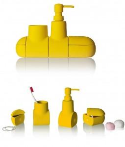 .amazon 45.00 seletti SUBMARINO - set accessori bagno in porcellana gommata - cm 25,5x7 h 17,5 - colore giallo
