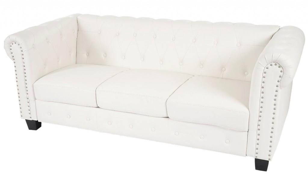 .amazon Divano 3 posti classico stile vittoriano Chesterfield ecopelle 90x195x74cm ~ bianco piedi quadrati