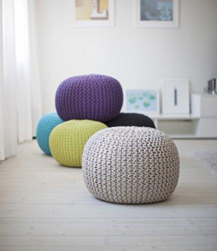 .mazon pouf maglia di nodo design NODO DESIGN Hand Made –  rivestito in maglia di cotone TURCHESE e vari colori