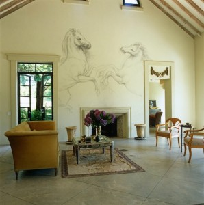 aaaLiving-room-mural-and-fireplace-John-Stedila-house-Amagansett