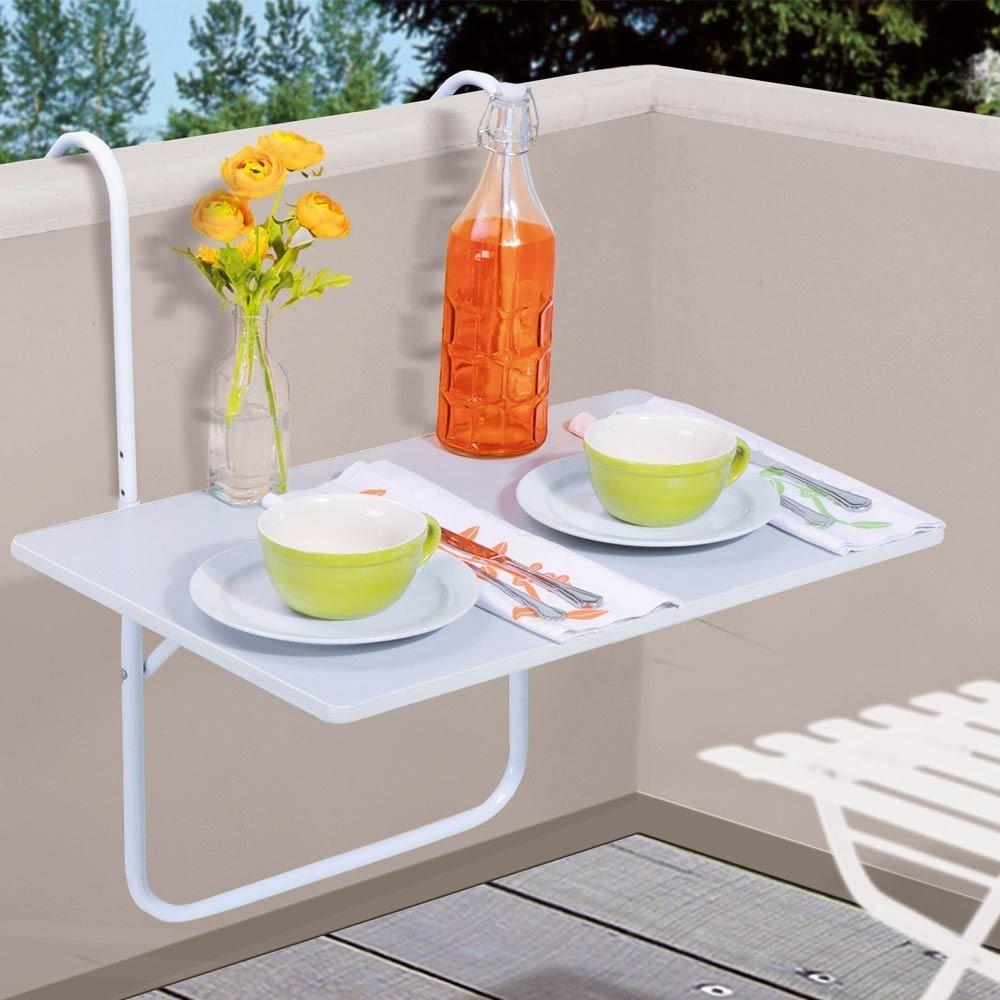 .amazon Tavolino appendibile da balcone e terrazzo, 60 x 40 cm, colore bianco
