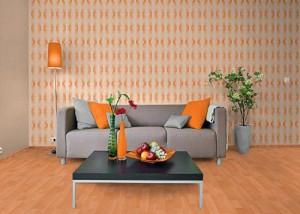 .amazon 16.95 EDEM 038-21 Carta da parati disegno vintage anni '70 in arancione e bianco