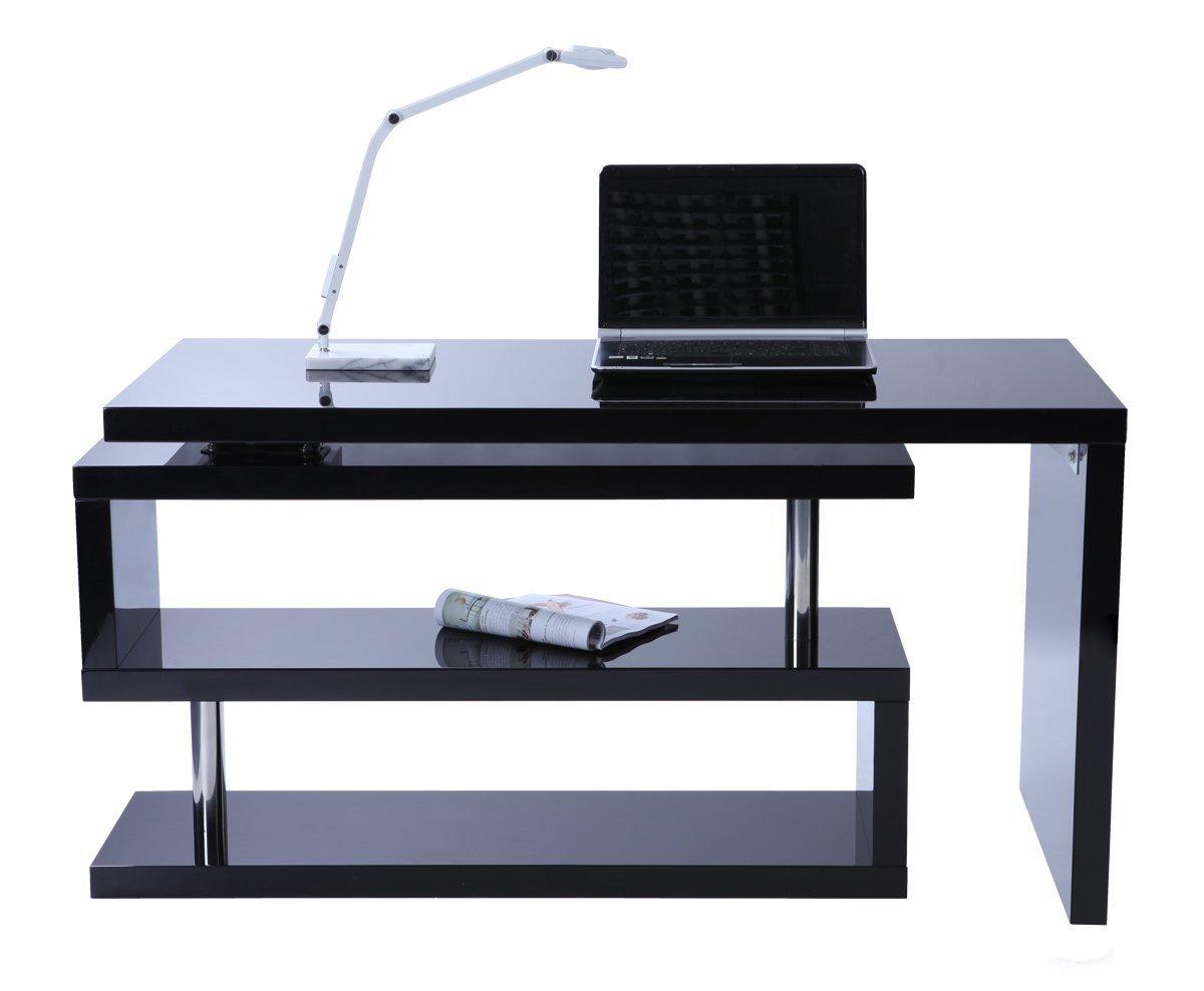 Scrivania Per Computer Design.Amazon 399 Miliboo Scrivania Design Laccata Nera Max