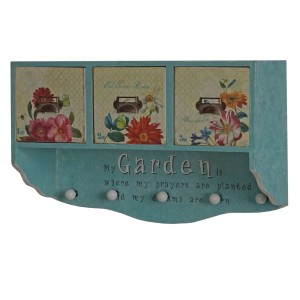 .amazon Serie vintage Carolina appendiabiti attaccapanni MDF 5 ganci 3 cassetti 18x50x33cm