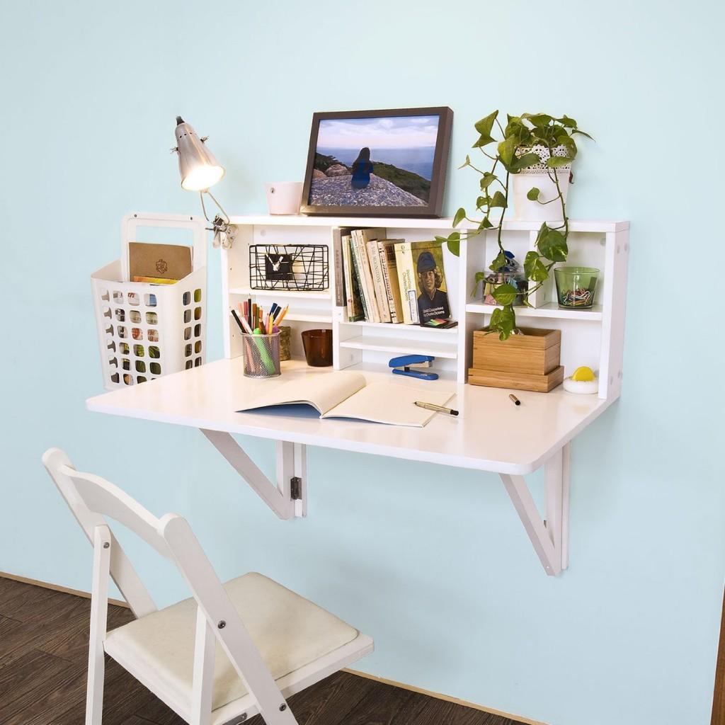 .amazon SoBuy Tavolo da muro pieghevole con integrato scaffale, bianco, FWT07-W, IT 69.95