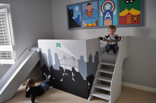 baby superman-batman-robin-and-captain-america-theme-kids-bunk-bed-design-with-stairs