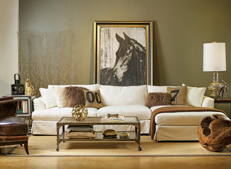 living room industrial chic countryside-chic-parete color fando tavolino industriale bianco pelle e tappeto