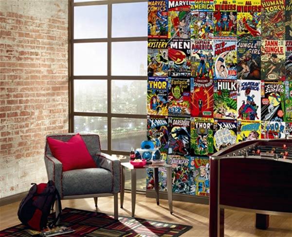 parete Murale realizzato con copertina dei fumetti della marvel