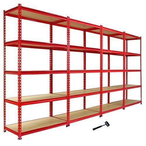 amazon-4-scaffali-z-rax-in-acciaio-senza-bulloni-rossi-90cm-x-45cm-x-183cm