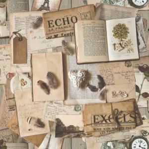 .amazon Muriva - Carta da parati vintage, vecchio riviste e libri, Multicolore
