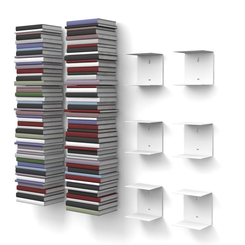 .amazon di home3000 - 6 Mensole libreria, invisibili, colore Bianco, con 12 scomparti, altezza fino a 300 cm, per mettere i libri in pila, per libri con profondità fino a 22 cm