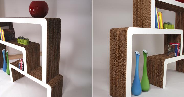 design libreria vimini realizzata in cartone ed mdf proposta da corvasce