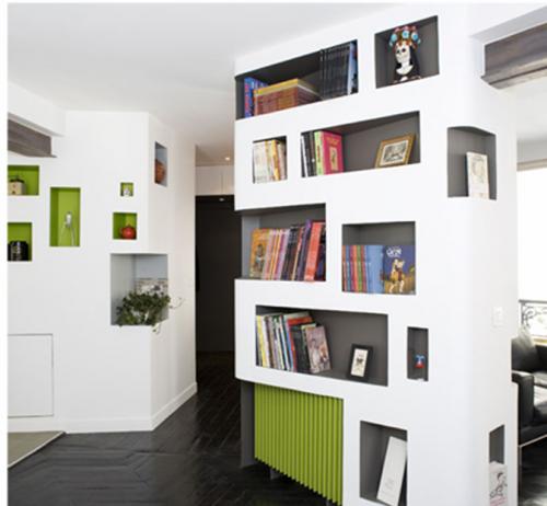 libreria termosifone inglobato pilastro