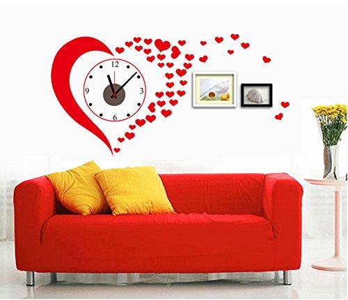 .amazon 15.95 UfingoDecor Romantici Cuori Rossi Orologio da Parete Adesivi Murali