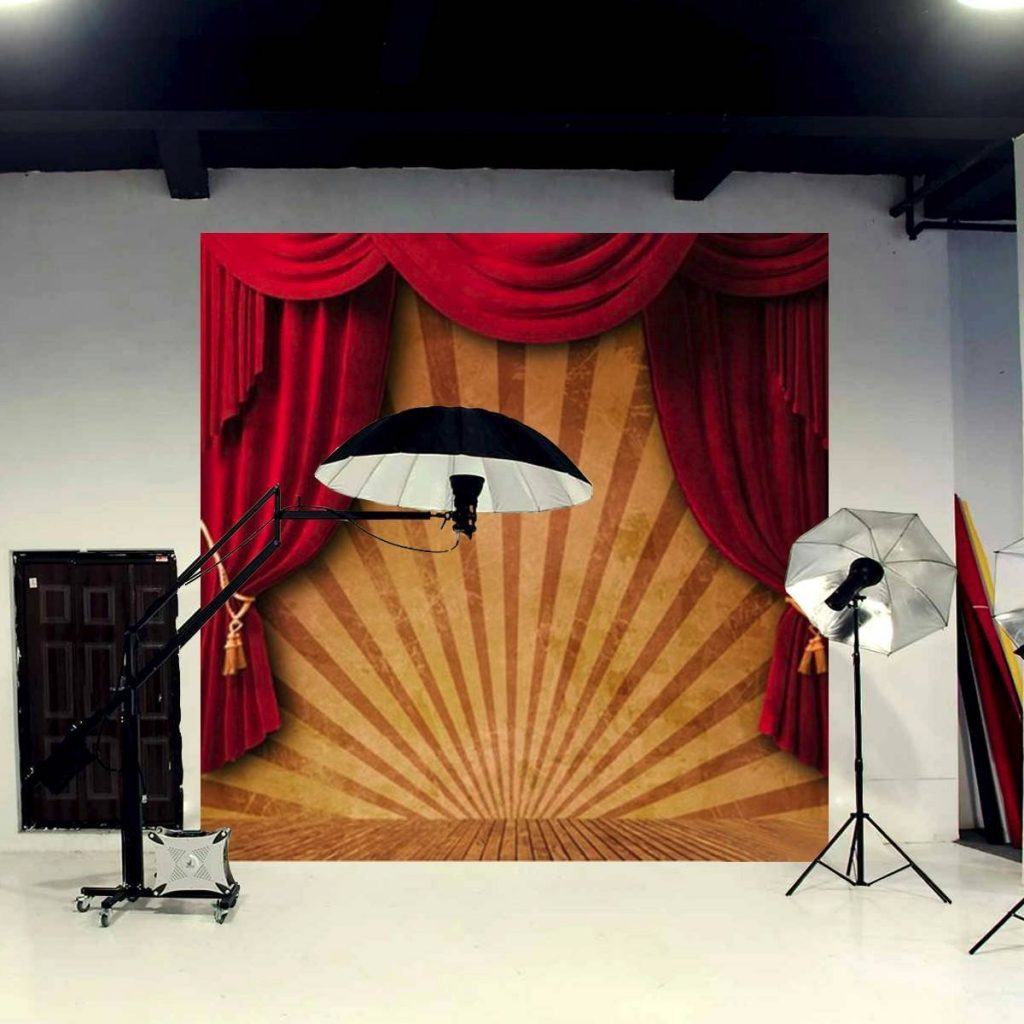 .amazon di Mohoo 3x3m Sfondo foto tende rosse tema del circo Circo Red Curtain Stage Custom Photo Studio Backdrop vinile