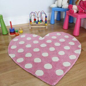 .amazon di the rug house Tappeto Per Bambine A Forma Di Cuore Rosa Pois Bianchi 90 x 90cm