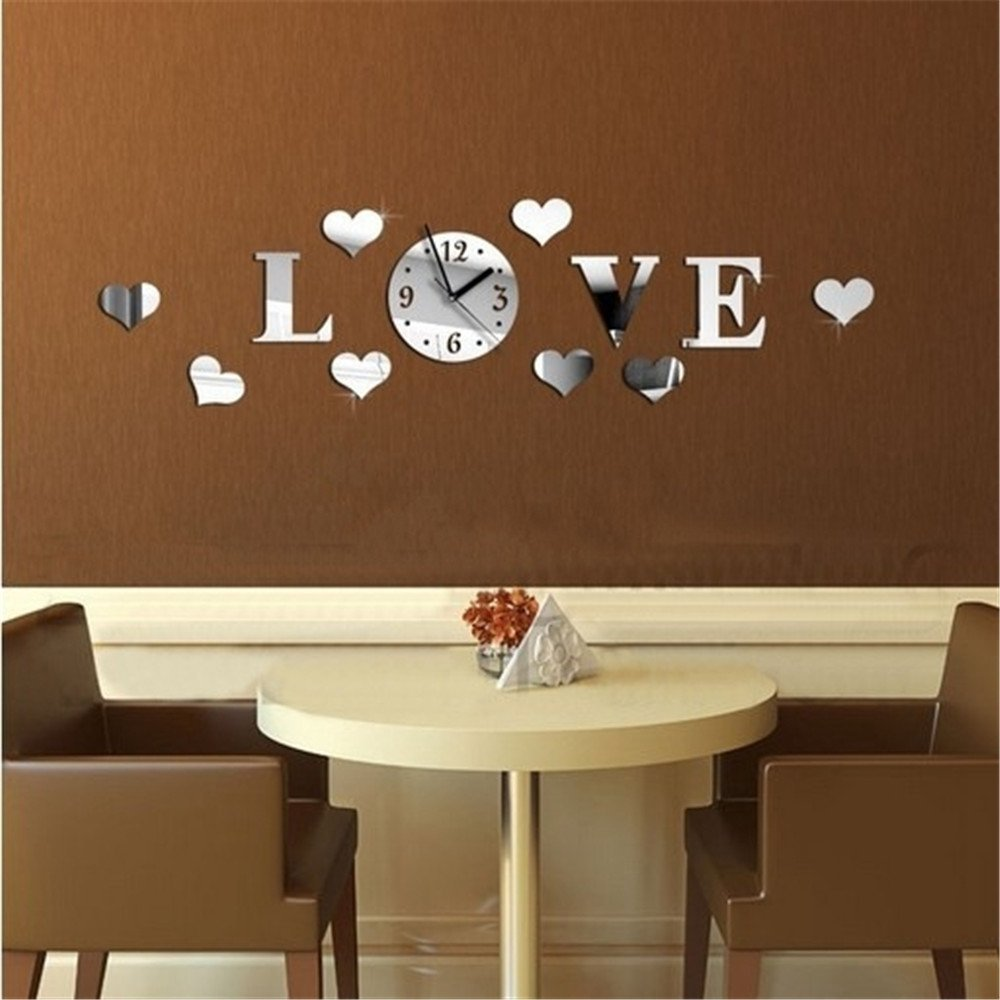 Pareti A Specchio Design amazon specchio da parete orologio cuore decal