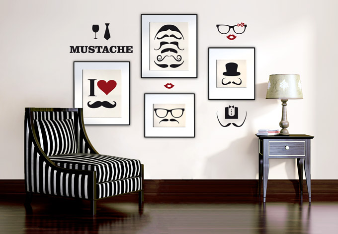 parete Mustache-Pet-Set_Wall-Sticker www.wall-art.com 27.00eu