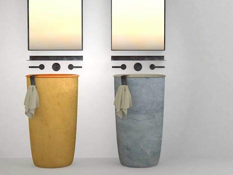 aaa design Vincenzo Catoio. per i nuovi lavabi presentato da Alessandro Lasferza alla ricerca di colri naturali, pastello, caldi e tenui per il relax e benessere