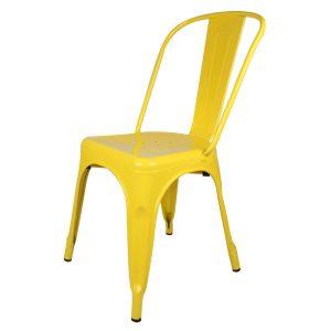 .amazon Sedia in metallo colore giallo, stile Tolix