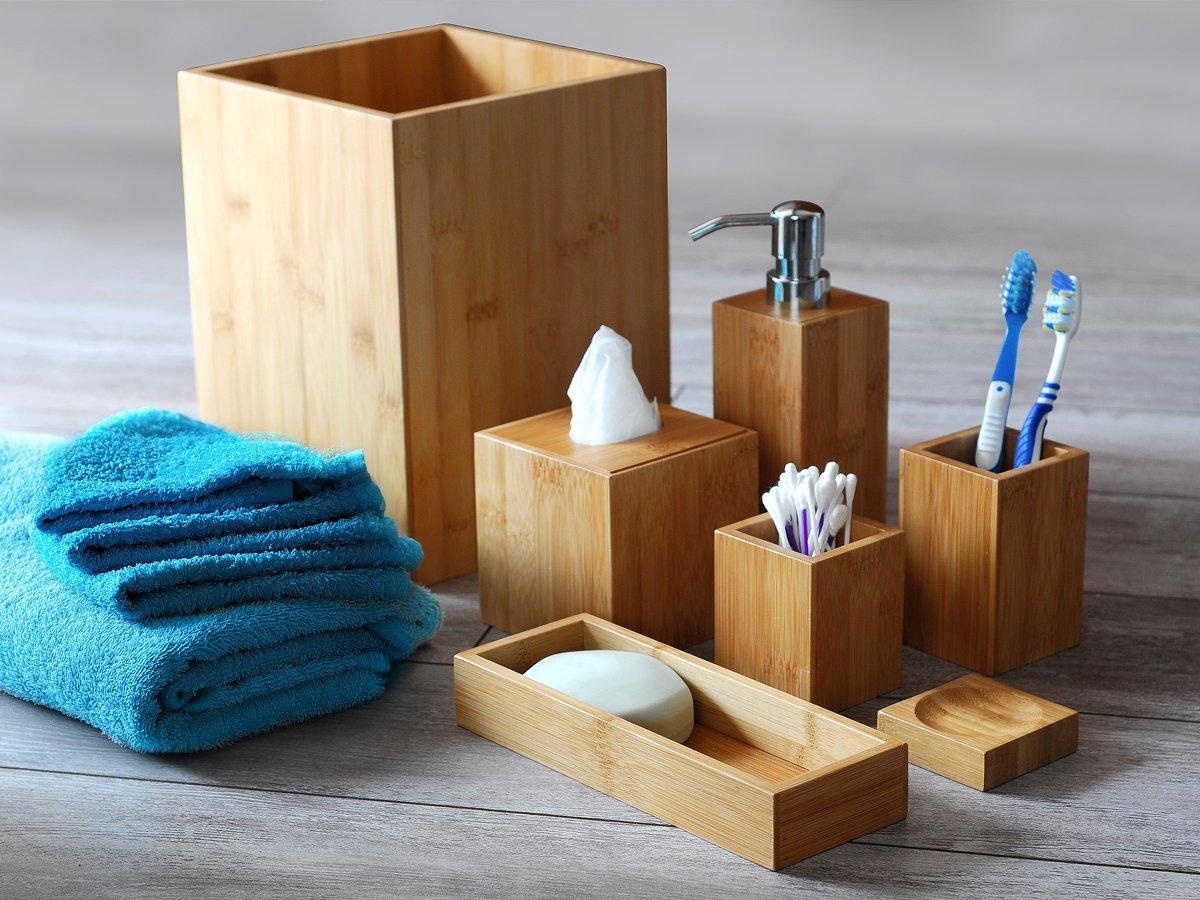 Accessori da bagno in legno design casa creativa e for Mobili bagno amazon