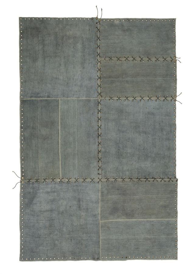 salone tappeto stringhe di sitap in canapa realizzato con corde nautiche e moduli di vecchi kilim
