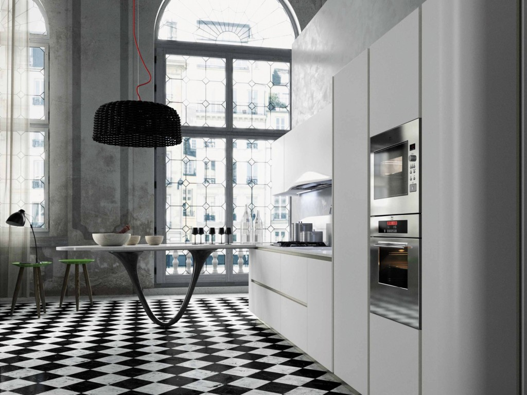 bancone La cucina Ola20 di Snaidero ha una speciale e scenografica penisola con supporto rivestito in fibra di carbonio