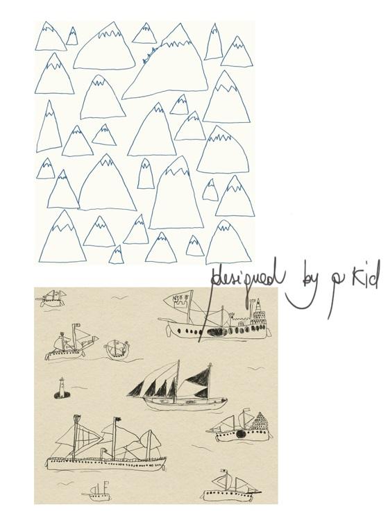 decoro parete carte da parati disegnate dal figlio di otto anni della designer svedese Elisabeth Dunker