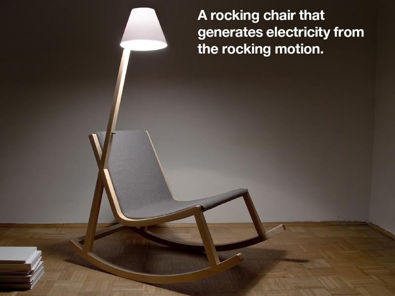 design sedia a dondolo rocking chair la sedia a dondolo di murakami rochus jacob che sfrutta il dondolio della sedia convertendolo in energia utilizzata dalla lampada a led da lettura