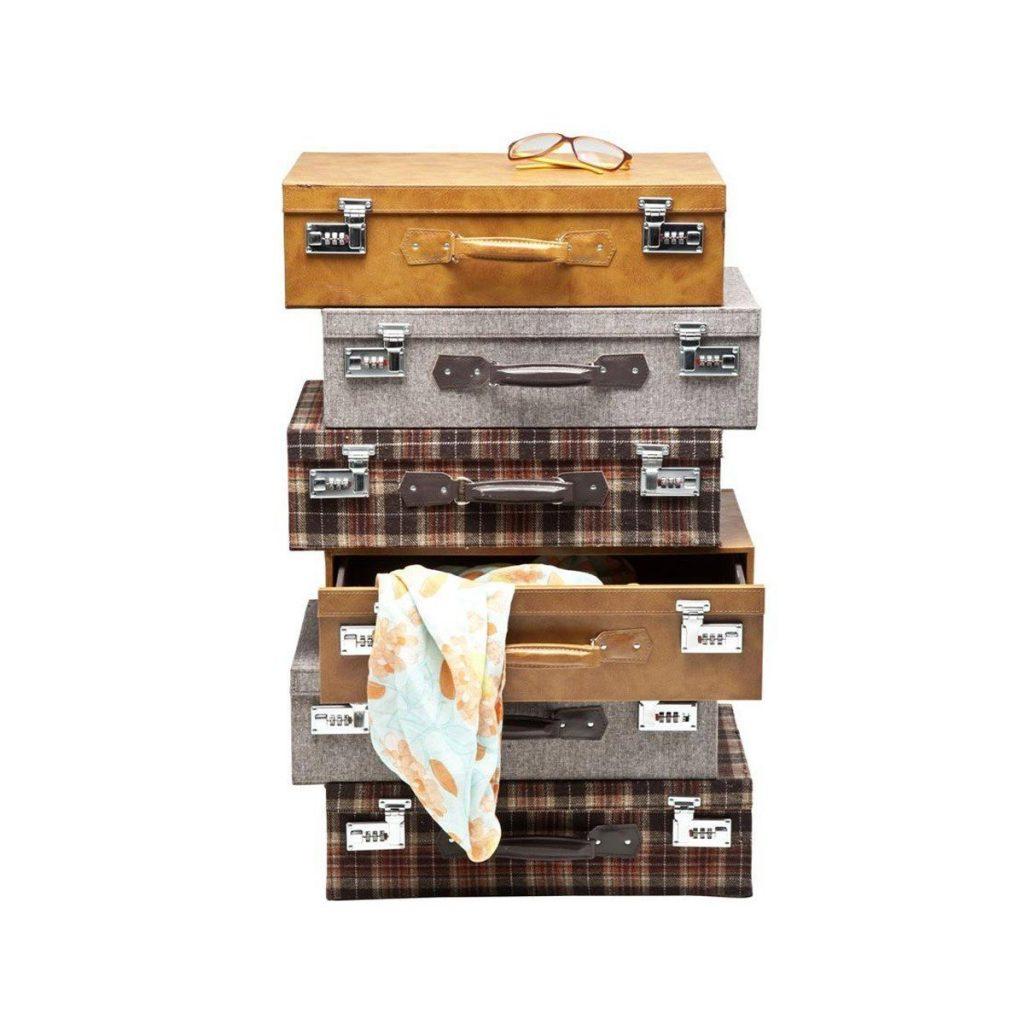 .amazon 223.34 Kare 77520 - Comodino a forma di 6 valigie accatastate, stile Highlands