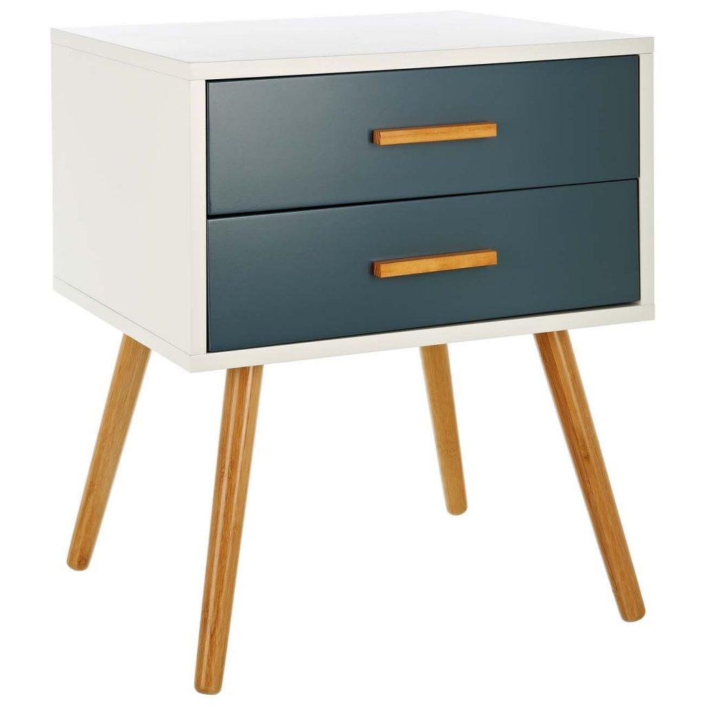 .amazon 89.00 LOMOS® No.5 Comodino in legno, di colore bianco e con due cassetti in una moderna tonalità di grigio