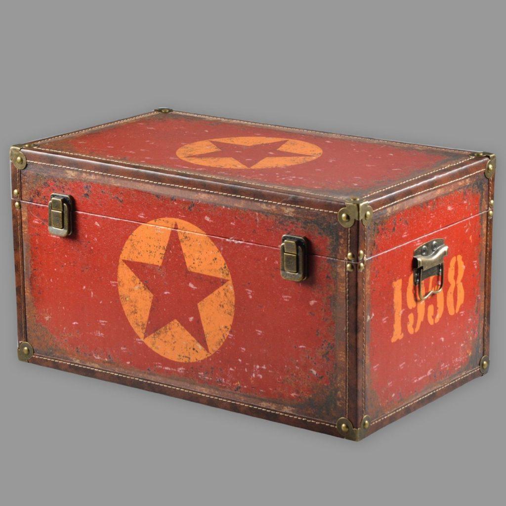 .amazon Vintage baule STAR Shabby Chic in legno conservazione World trasporto scatola rosso diverse fanATSIE