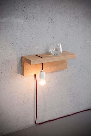 mensola legno porta lampada porta bicchiere
