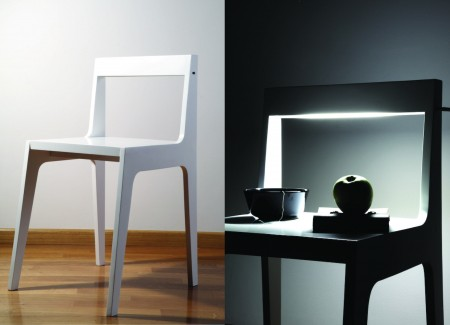 sedia comodino helios dello studio spigoli vivi, comodino seduta e lampada