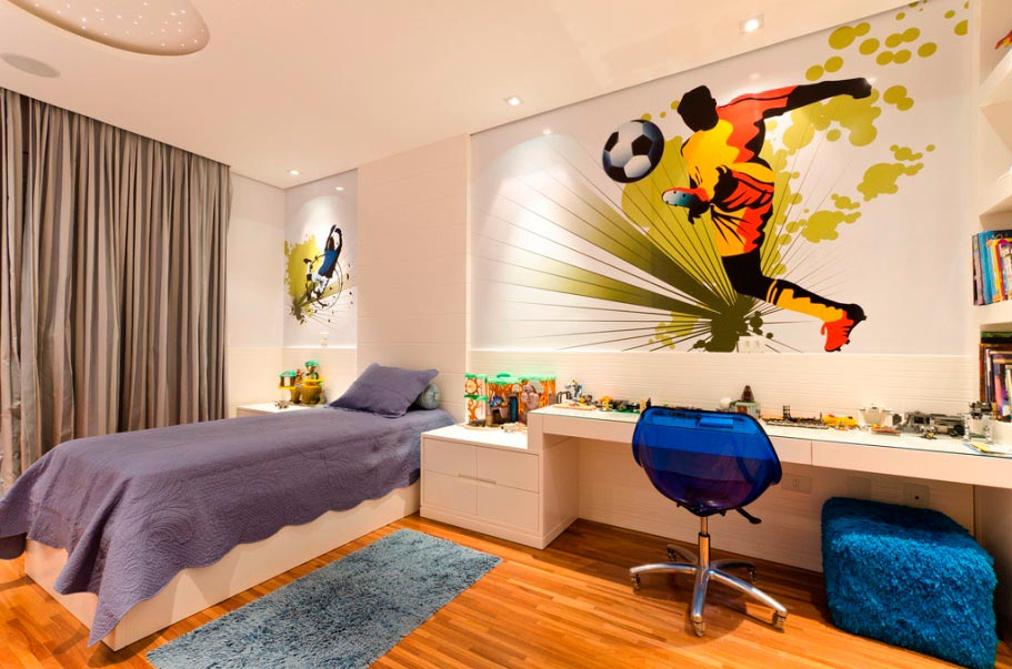 foot modern-luxury-design-from-kids-bedroom-with-soccer-theme-decor-feat-purple-bedding-and-blue-seats-for-white-desk-and-cool-wallpaper