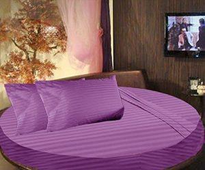 .amazon by scala 300 fili 4 pezzi lenzuolo letto rotondo 243,84 cm dia metro Twin viola a righe 100% cotone egiziano