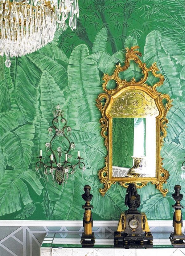 decorating-ideas-green-emerald-Wallpaper-pattern-palm-frond-gold-color