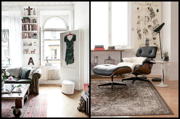 Salotto In Stile Moderno Con Parquet Interior Design : Salotto stile moderno con divano pelle camino e tappeto