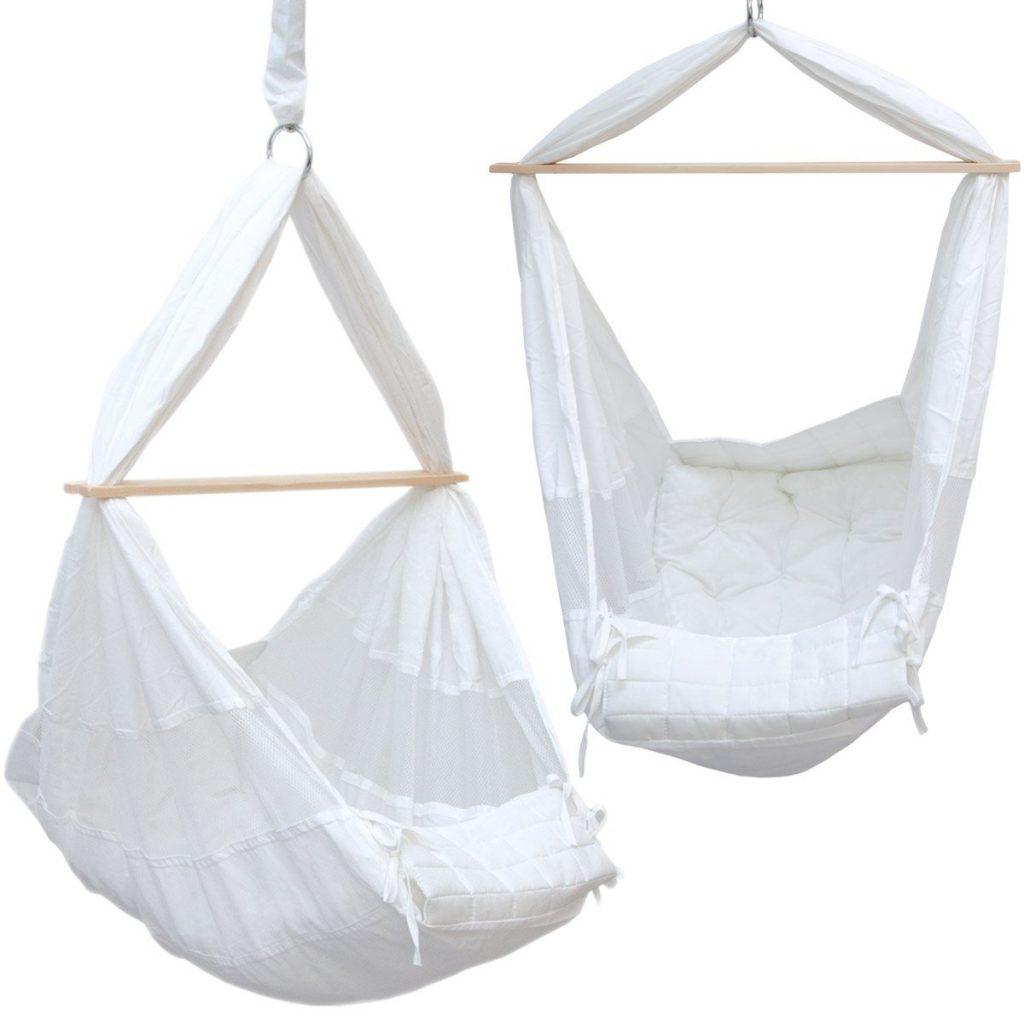 .amazon amaca baby Amaca per Neonato 100% Cotone con barra separatrice di legno culla da appendere dondolo sospeso per bebè bianco peso max sostenuto 15Kg