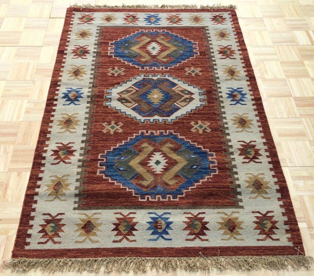 .amazon geometrico Tappeto kilim indiano in lana cm 140x200 con frange, realizzato a telaio a mano de il tucano