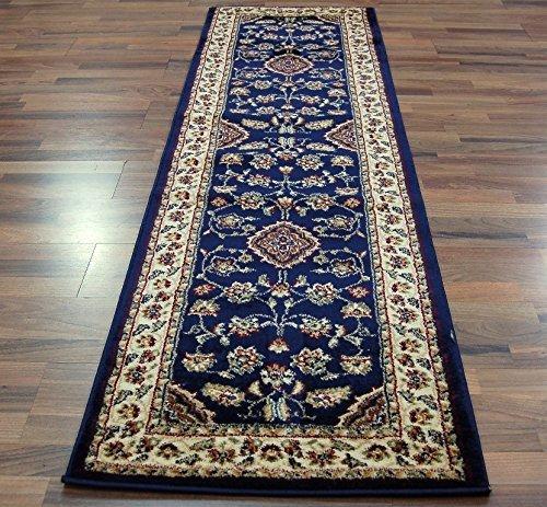 .amazon tappeto persiano floreale Tappeto orientale e classico in stile persiano tradizionale, con motivo floreale, 60 x 230 cm, colore blu navy