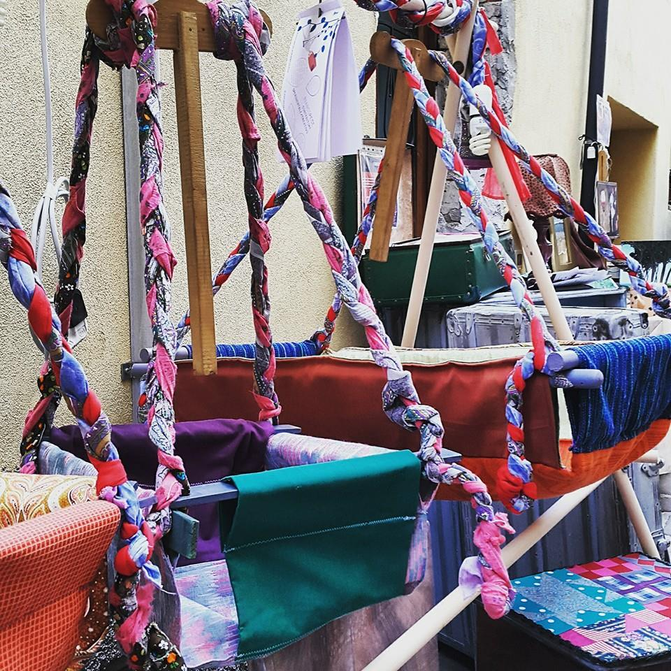 Badabellino linea di altalene e culle tessili, fatto a mano, pezzi unici