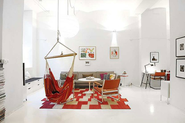 aaaamaca Relaxing-Red-Hammocks-Work-Well-in-Small-Spaces-Too-Warm-Interior-Decoration-Fitted-by-Red-Area-Rug-and-Chair