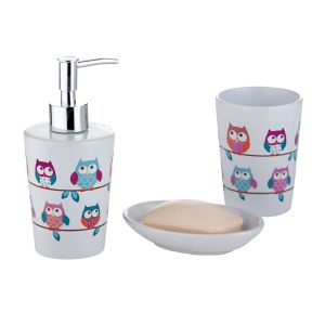 .amazon 9.95 Axentia, Set accessori da bagno in ceramica, design Gufi,