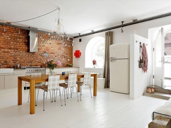 industriale loft moderno mix stylish-kitchens-with-brick-walls-and-ceilings-33-554x415