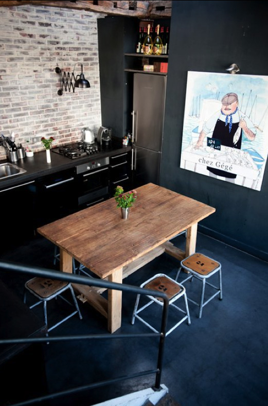 industriale loft moderno resina stylish-kitchens-with-brick-walls-and-ceilings-29