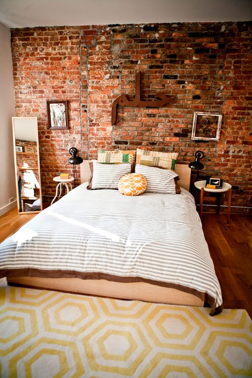 industriale parete di mattoni rosi letto impressive-bedrooms-with-brick-walls-15