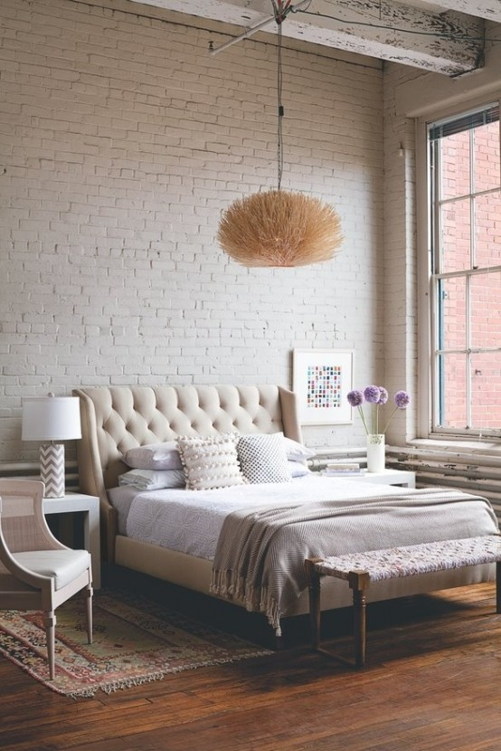 industriale shabby letto impressive-bedrooms-with-brick-walls-4-554x830