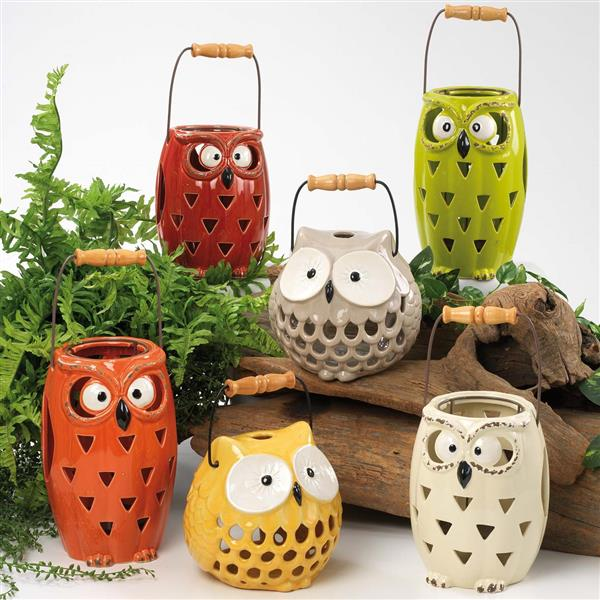 lanterne gufo in ceramica con maniglia di maiuguali