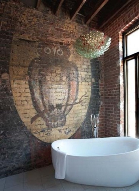 parete Stylish-Bathroom-with-Owl-Mural-Painting